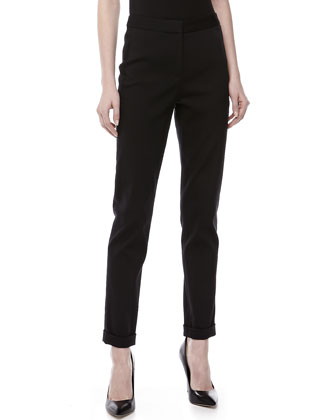 Slim Cuffed Straight-Leg Pants