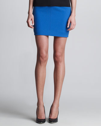 Double-Faced Wool Miniskirt, Blue