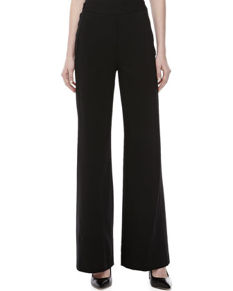 Fluid Wide-Leg Stretch Pants