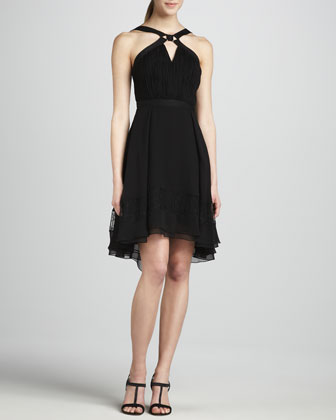 Halter Dress with Hi-Lo Flounce Hem