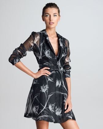 Printed Silk Trench