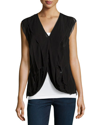 Sleeveless Layered Flutter Blouse, Black
