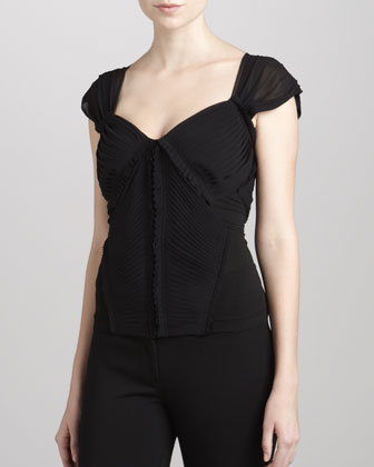 Pleated-Front Jersey Combo Top, Black