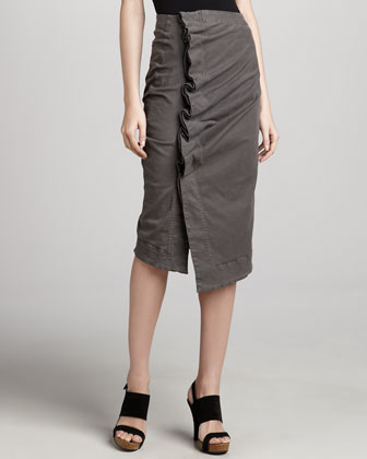 Side-Gathered Wrap Skirt