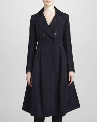 Bell-Shaped Double-Breasted Coat, Midnight