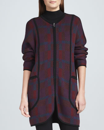 Bold Plaid Zip-Front Coat, Women's