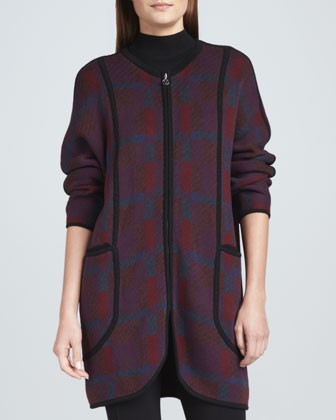 Bold Plaid Zip-Front Coat, Mock-Neck Top & Front-Seam Leggings