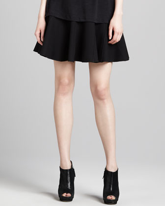 Double-Face Suiting Circle Skirt, Black