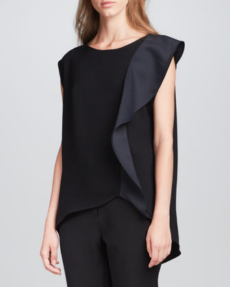 Side-Ruffle Crepe Top
