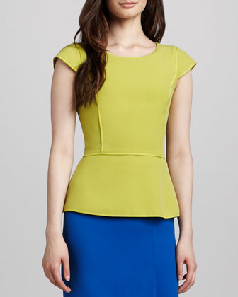 Cap-Sleeve Peplum Top, Apple Green