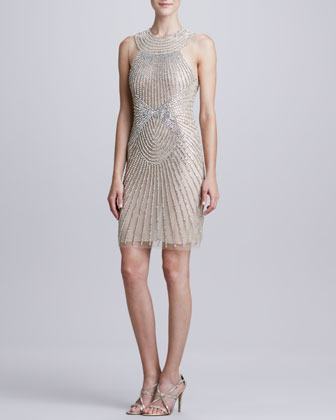 High-Neck Ray-Beaded Cocktail Dress