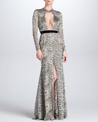 Paisley-Lace Gown with Front Keyhole