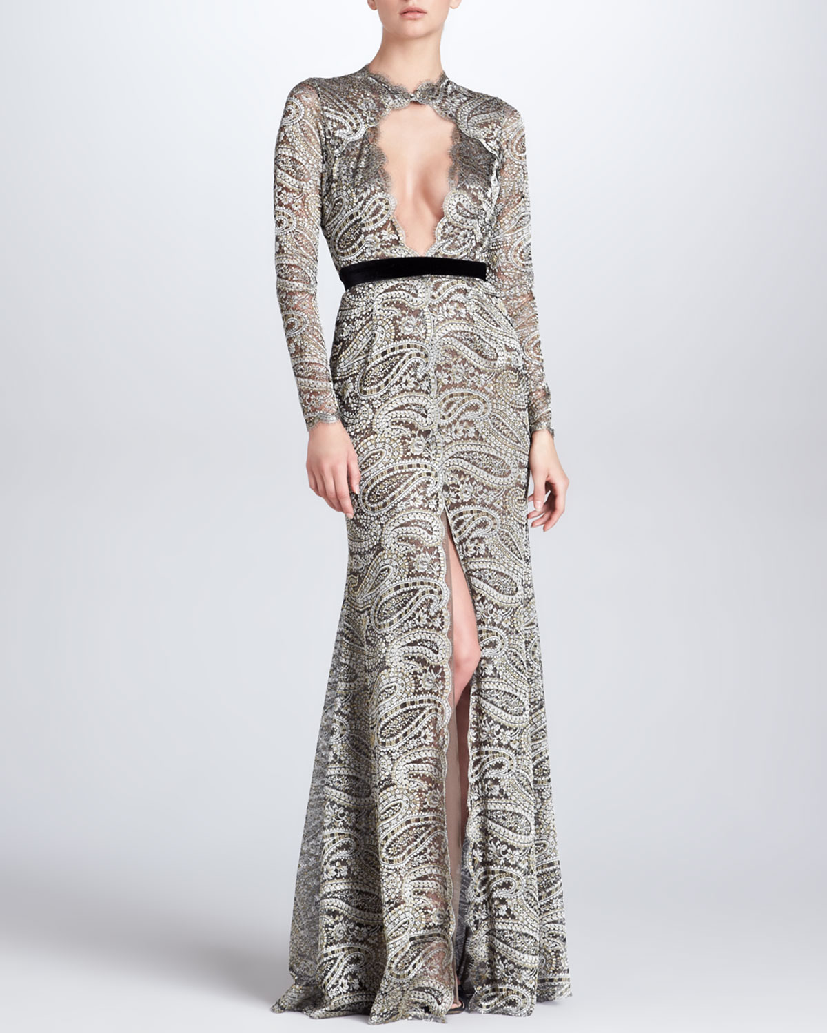 Womens Paisley Lace Gown with Front Keyhole   Naeem Khan   Gunmetal (6)