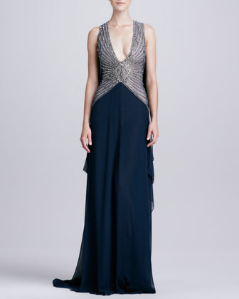 Deep-V-Neck Beaded-Bodice Gown