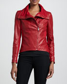 Leather & Ponte Asymmetric Jacket, Red