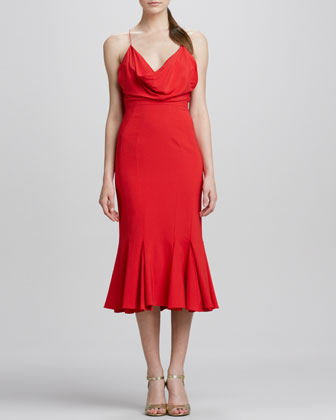 Cowl-Neck Flared Midi Cocktail Dress
