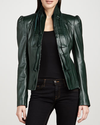 Laser-Cut Ruffle Leather Jacket