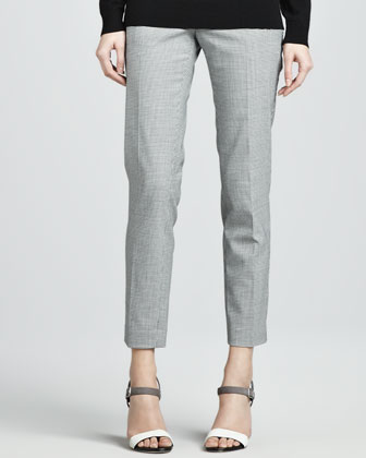 Fia Cropped Houndstooth-Print Pants
