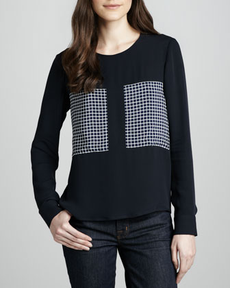 Mariya Silk Grid Blouse