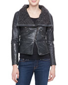 Leather Moto Jacket with Knit Collar