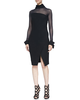 Illusion Asymmetric Long-Sleeve Dress