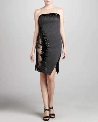 Strapless Sequined Dress