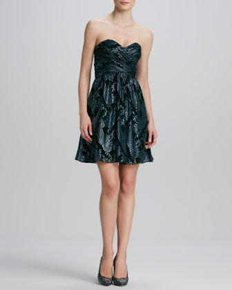 Paisley-Print Metallic Cocktail Dress