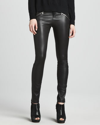 Signe Zip-Detail Sweater & Claudette Leather Pants