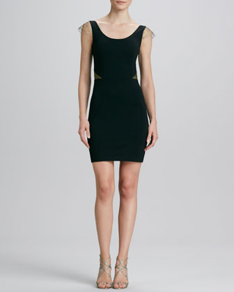 Ponte Lace-Cap-Sleeve Dress