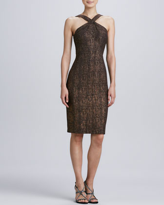 Sleeveless Halter Cocktail Dress