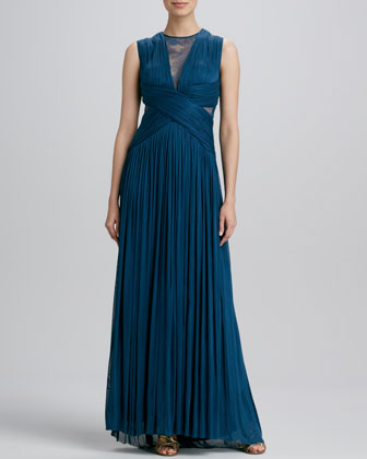 Sheer-Inset Gathered Gown
