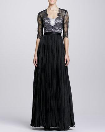 3/4-Sleeve Bodice Chiffon Gown