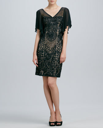 Beaded Flutter-Sleeve Cocktail Dress