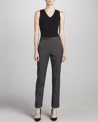 Cuffed High-Waist Ankle Pants