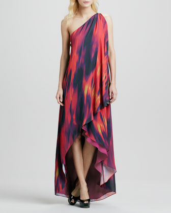 Chromatic One-Shoulder Draped Gown