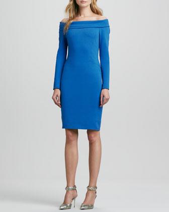 Long-Sleeve Off-Shoulder Ponte Dress