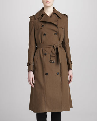 Self-Belt Long Trench Coat, Tan
