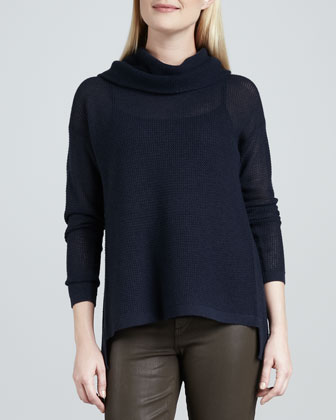 Nancy Sheer Draped-Neck Sweater