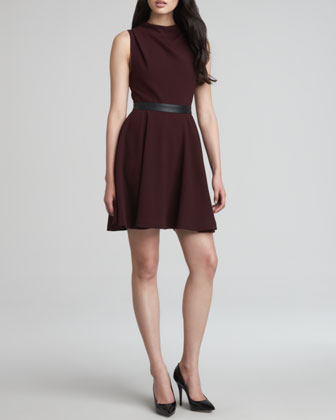 Alma Leather-Waist Mock-Neck Dress