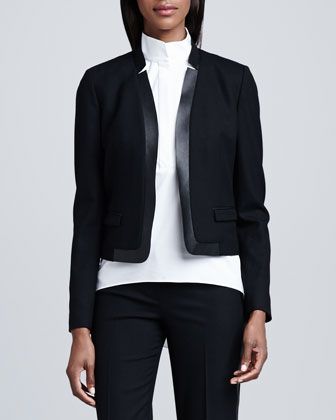 Kelly Leather-Trim Short Jacket
