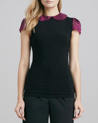 Floral-Print & Solid Top