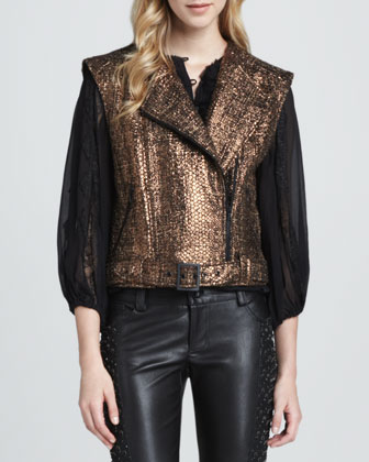 Metallic Asymmetric Tweed Vest