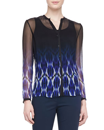 Anora Printed Chiffon Blouse, Brilliant Blue
