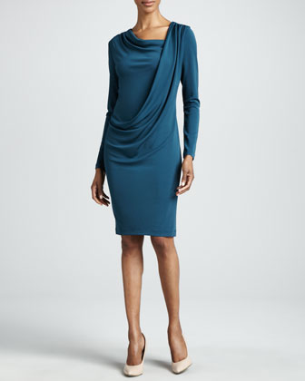 Grecian Drape Long-Sleeve Dress