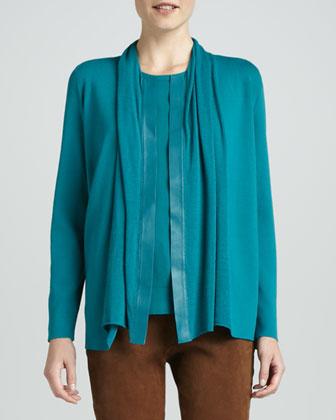 Cardigan with Leather Placket