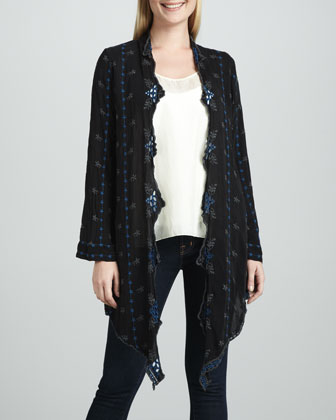 Roney Long-Sleeve Embroidered Wrap Jacket