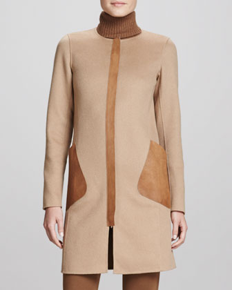 Shira Coat with Leather Pockets