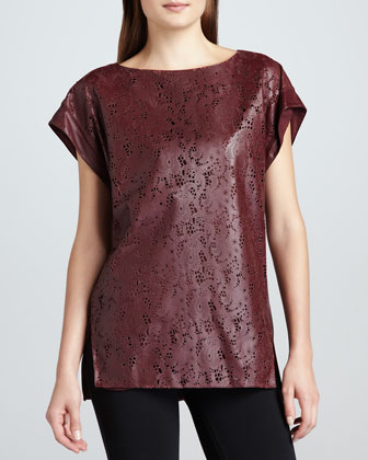Leather Lace-Cutout Tunic
