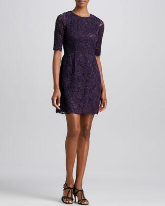 Half-Sleeve Lace Dress, Violet