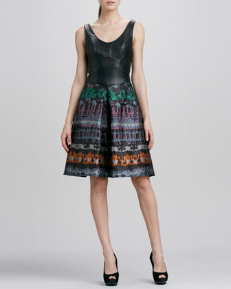 Leather-Bodice Print-Skirt Dress
